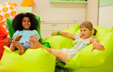 Beanbag chair with footrest for kids and big