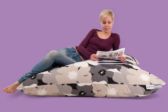 Sofa Soft Softò Flower Power - The big rectangular beanbag cushion in floreal fabric