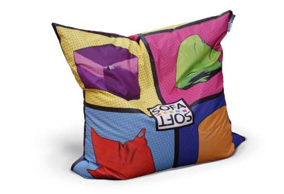 Personalization with prints on bean bag, cushins, pouf and beanbag chairs in faux leather, nylon, juta and denim jeans