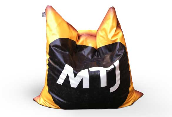 Brandization and customization of bean bag, cushins, pouf and beanbag chairs in faux leather, nylon, juta and denim jeans
